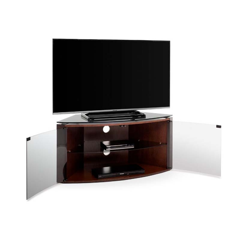 Awesome Popular Smoked Glass TV Stands In Techlink Bench Corner 55 Inch Tv Stand Dark Oak With Smoked Glass (Image 8 of 50)