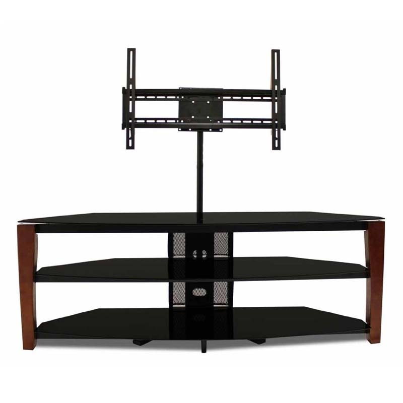 Awesome Popular Solid Wood Black TV Stands Intended For Tech Craft Solid Wood And Black Glass Tv Stand With 60 In Tv (Photo 19 of 50)