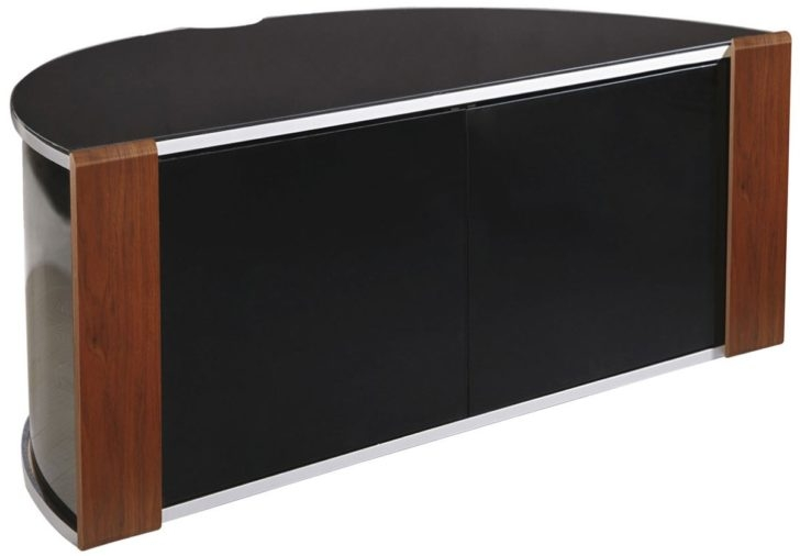 Awesome Popular TV Stands With Rounded Corners Intended For Enthralling Modern Corner Tv Stand In Half Round Shape From Brown And Black Woods 728× (View 37 of 50)