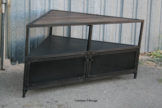 Awesome Popular Vintage Industrial TV Stands In Corner Unittv Stand Vintagemodern Industrial Mid Century (Image 6 of 50)
