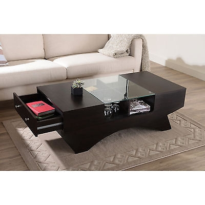 Awesome Preferred Coffee Tables With Shelves Pertaining To Modern Coffee Table Wood 4 Display Shelves Glass Top Side Storage (Image 10 of 50)