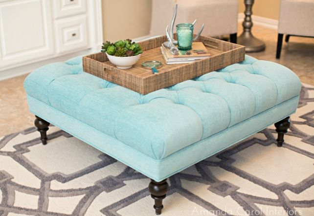 Awesome Preferred Fabric Coffee Tables Pertaining To Impressive Blue Ottoman Coffee Table Best Ideas About Tufted (View 15 of 50)