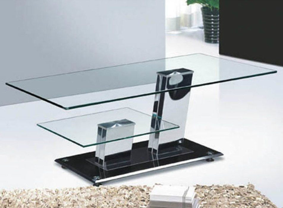 Awesome Preferred Glass And Chrome Coffee Tables Within Square Chrome And Glass Coffee Table Coffee Tables Zone (Image 7 of 50)