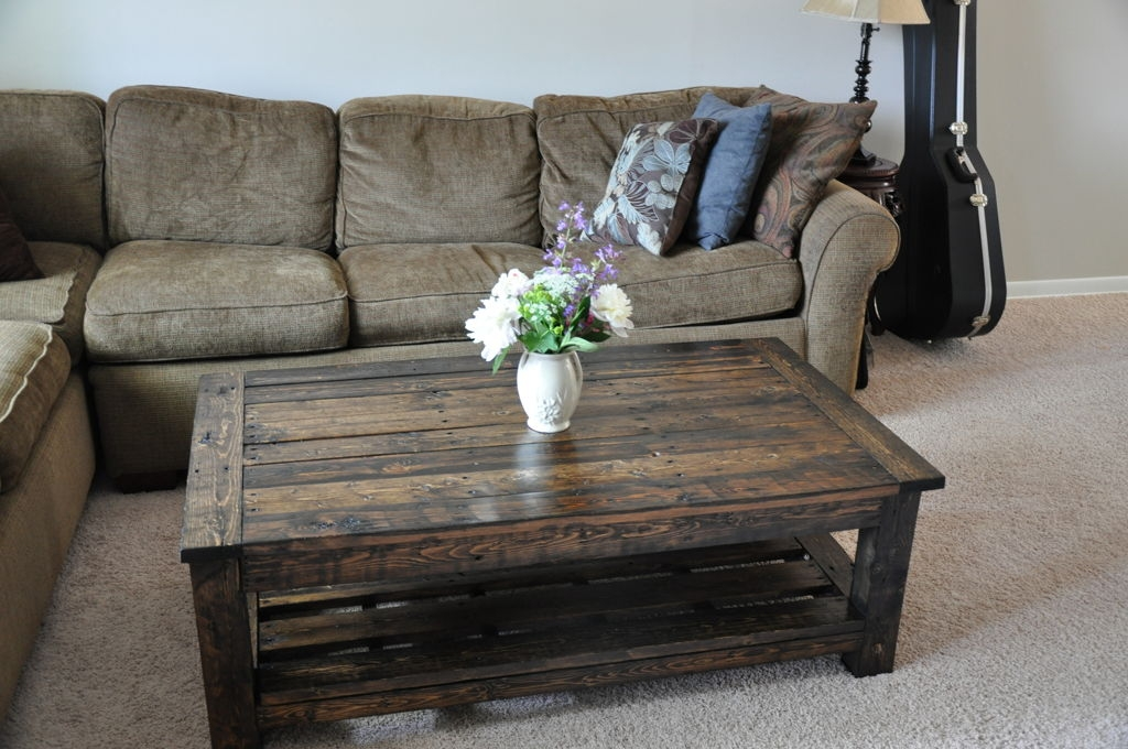 Awesome Preferred Grey Wood Coffee Tables Within Furniture Reclaimed Pallet Wood Coffee Table Combine Grey (Image 6 of 50)