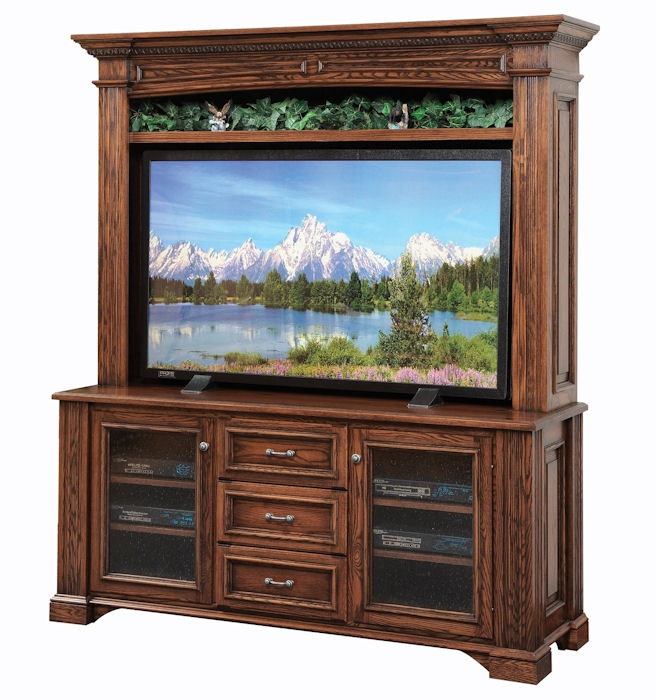 Awesome Preferred Tall TV Stands For Flat Screen Within Flat Screen Tv Cabinet Lincoln 554 Clear Creek Amish Furniture (Image 7 of 50)