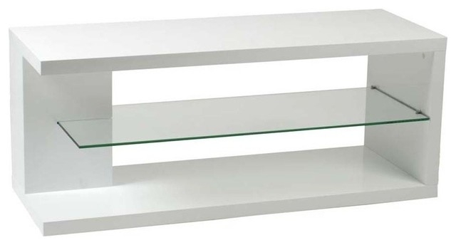 Awesome Preferred White Glass TV Stands In Eurostyle Hilda Media Stand In White Lacquered W Glass Shelf (Image 8 of 50)