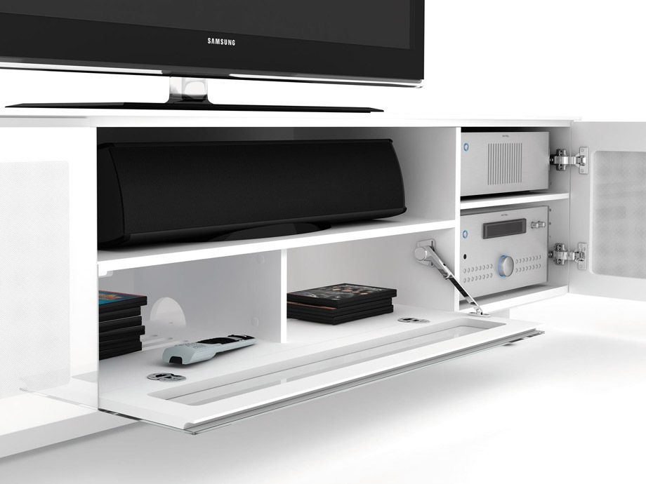 Awesome Preferred White Gloss TV Cabinets Intended For Bdi Nora 8239 White Gloss Tv Cabinet Bdi Audiovisual Online (Image 6 of 50)