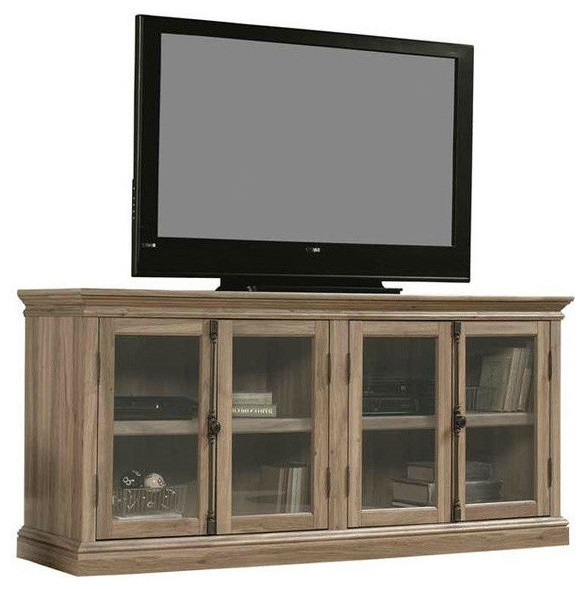 Awesome Preferred Wooden TV Cabinets With Glass Doors Within Salt Oak Wood Finish Tv Stand With Tempered Glass Doors Fits Up To (Image 12 of 50)