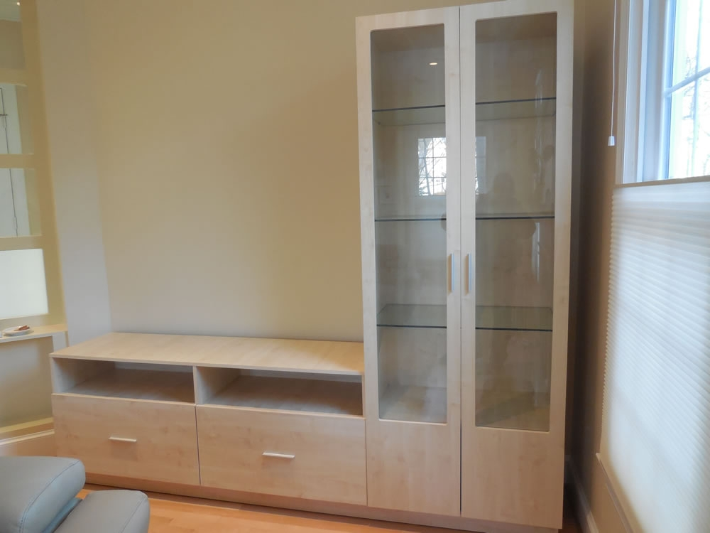 Awesome Premium L Shaped TV Cabinets Within L Shaped Wall Unit In Ash Matte With Glass Doors (Image 7 of 50)
