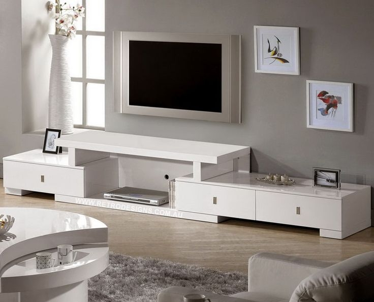 Awesome Premium Long White TV Cabinets With Regard To Livio Extendable White Gloss Tv Cabinet Only 749 Live Life With (Image 8 of 50)