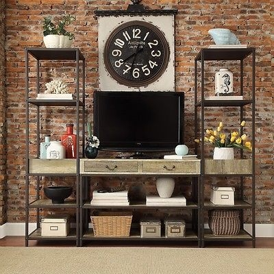 Awesome Premium Metal And Wood TV Stands Inside 3pc Rustic Tv Stand W Bookcases Entertainment Center Wood Metal (Image 4 of 50)