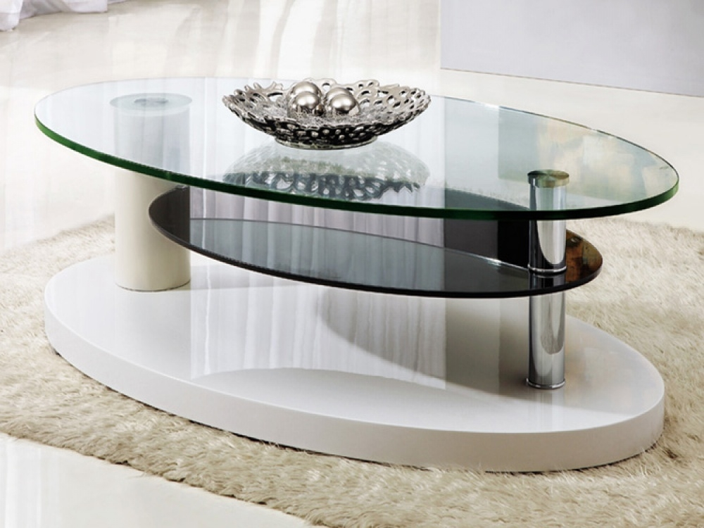 Awesome Premium Oval Black Glass Coffee Tables Intended For Glass Living Room Table Set Silver Glass Coffee Table Setpoundex (Image 9 of 50)