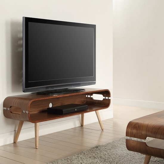Awesome Premium Rectangular TV Stands With Marin Wide Tv Stand In Walnut With Solid Ash Spindle Shape (Image 8 of 50)