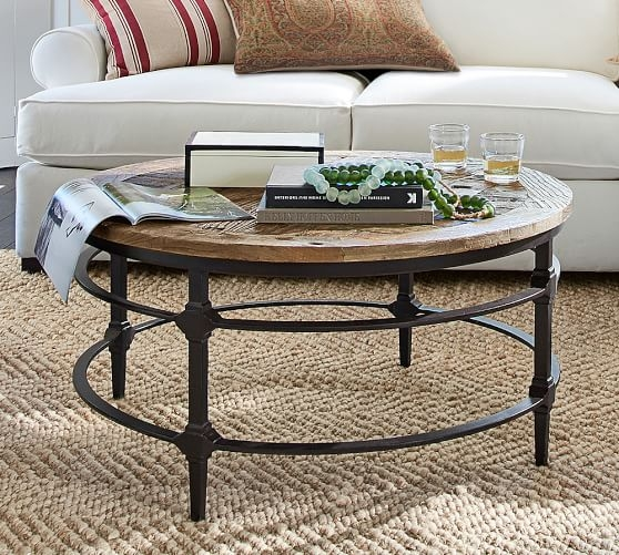 Awesome Premium Round Pine Coffee Tables Intended For Parquet Reclaimed Wood Round Coffee Table Pottery Barn (View 30 of 50)