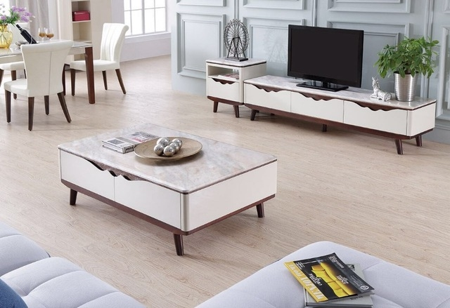 Awesome Premium TV Stands Coffee Table Sets With Regard To Lizz Contemporary White Living Room Furniture Tv Stand And Coffee (Image 8 of 50)