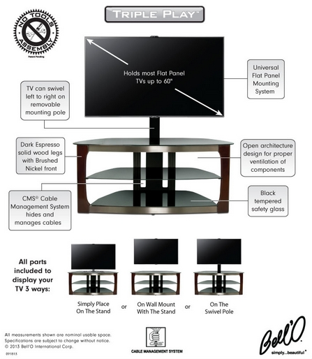Awesome Series Of Bell'O Triple Play TV Stands Inside 8  (Image 9 of 50)