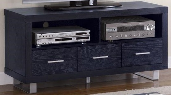 Awesome Series Of Contemporary Black TV Stands Within Contemporary 47 Tv Stand Black Sam Levitz Furniture (View 17 of 50)