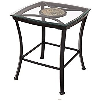 Awesome Series Of Glass And Black Metal Coffee Table Within Amazon Adeco Glass Black Metal Endside Table Metal Frame (Image 5 of 50)