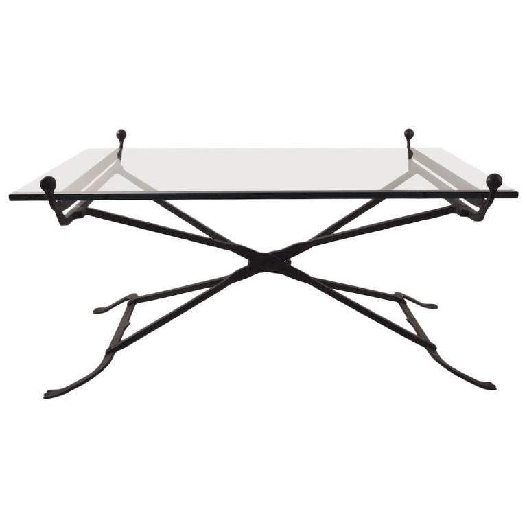Awesome Series Of Iron Glass Coffee Table With Regard To Wrought Iron Glass Top Coffee Table In The Gothic Style For Sale (Image 7 of 50)