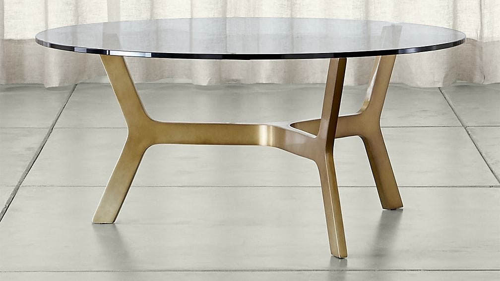 Awesome Series Of Round Glass And Wood Coffee Tables With Regard To Elke Round Glass Coffee Table With Brass Base Crate And Barrel (Image 5 of 50)