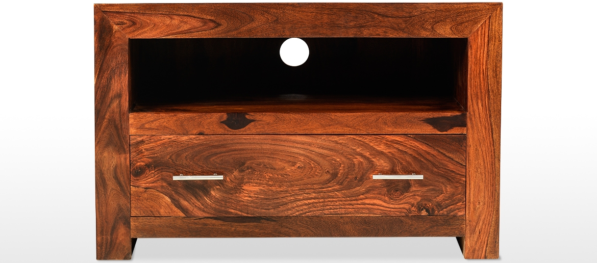 Awesome Series Of Sheesham TV Stands Inside Cube Sheesham Square Tv Stand Quercus Living (Image 9 of 50)
