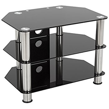 Awesome Series Of Silver TV Stands With Techlink Skala Corner Stand With Tinted Glass Shelves Amazonco (View 43 of 50)