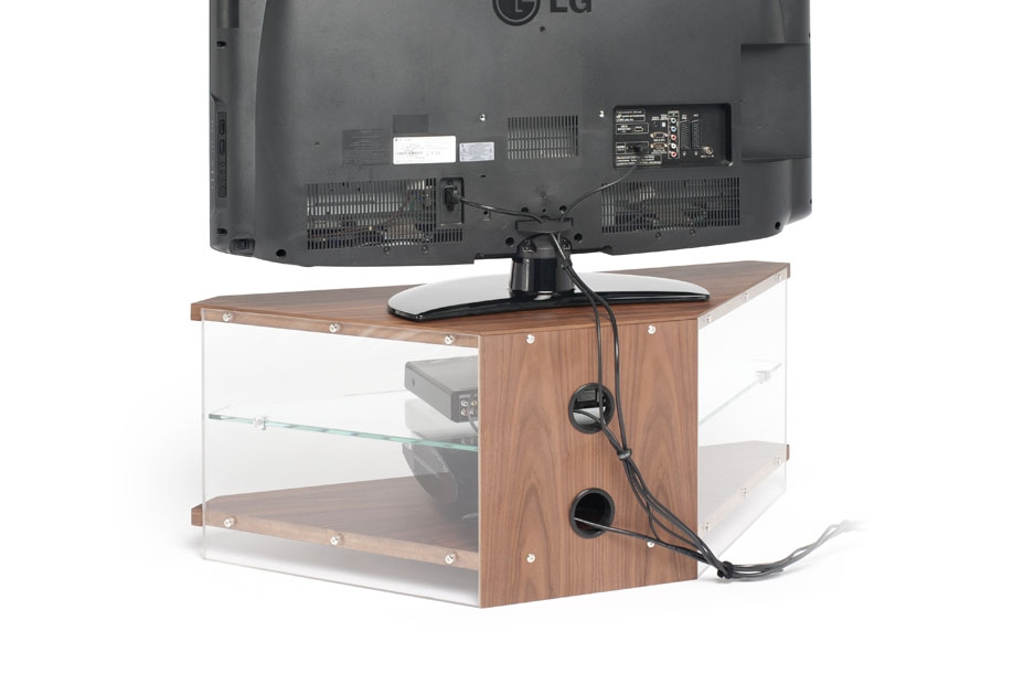 Awesome Series Of Techlink Air TV Stands Inside Techlink Air Corner Tv Stand In Walnut With Clear Glass (Image 9 of 50)