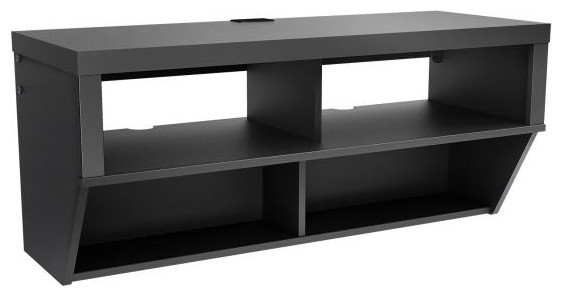 Awesome Series Of Wall Mounted TV Stands Entertainment Consoles In Prepac Series 9 Designer Wide Wall Mounted Av Console In Black (View 40 of 50)