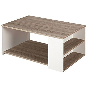 Awesome Series Of White Retro Coffee Tables Throughout Amazon White Sonoma Oak Finish Accent Reclaimed Wood Look (View 41 of 50)