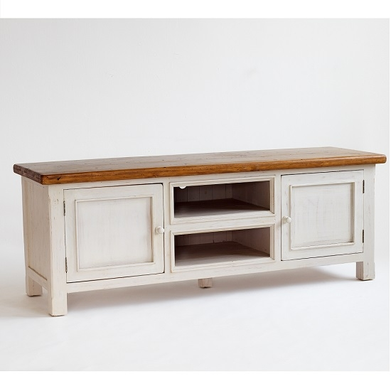 Awesome Series Of White Wooden TV Stands For Boddem Tv Cabinet In White Pine 2 Doors And Shelf  (Image 9 of 50)