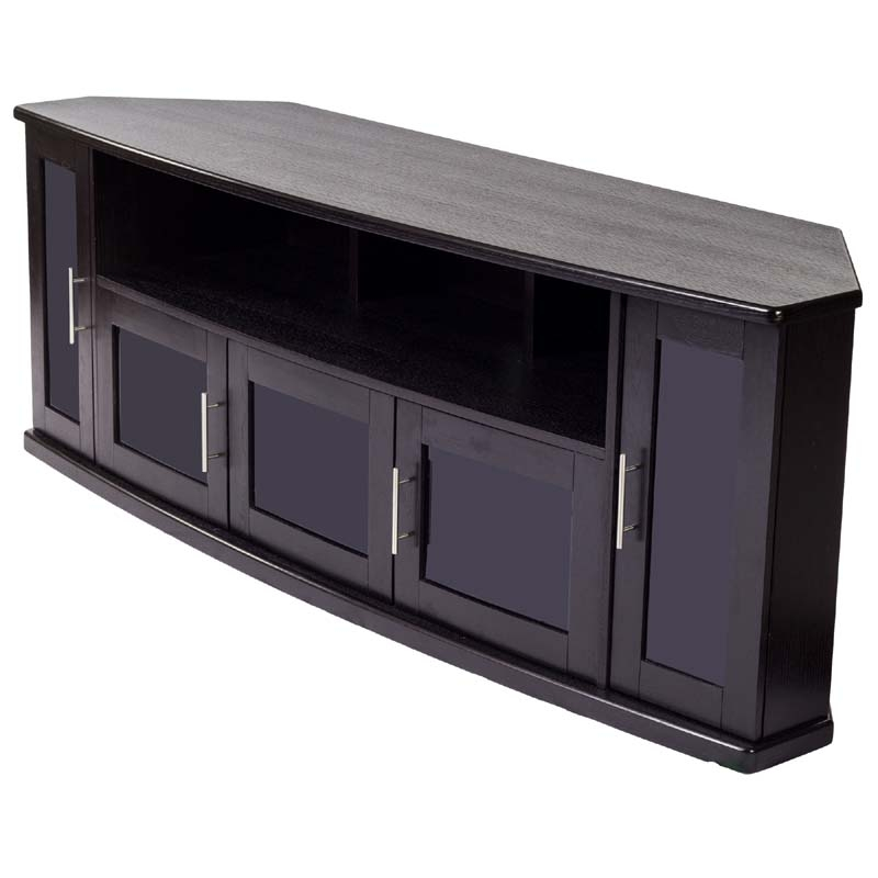 Awesome Top Black TV Cabinets With Doors With Black Corner Tv Cabinet With Glass Doors (Image 8 of 50)