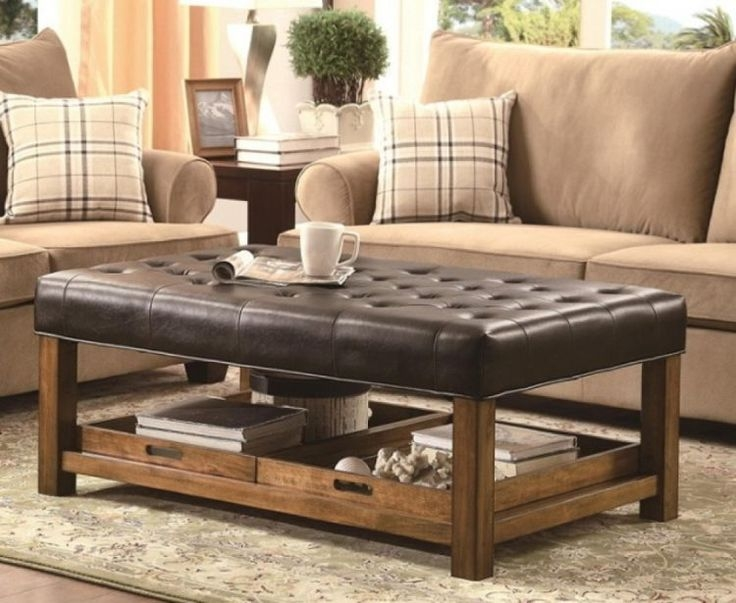 Awesome Top Brown Leather Ottoman Coffee Tables Pertaining To Coffee Table Breathtaking Leather Tufted Ottoman Coffee Square (Image 7 of 50)