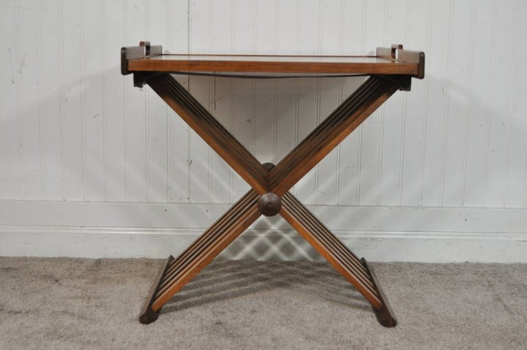 Awesome Top Campaign Coffee Tables Intended For Drexel Campaign Style Walnut Folding Tray Or Serving Table (Image 11 of 50)