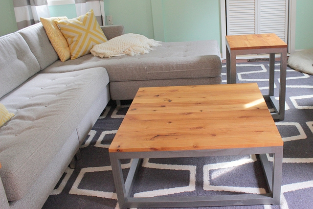 Awesome Top Coffee Table With Matching End Tables Intended For Remodelaholic Build A Modern Coffee Table And Matching End Tables (Image 12 of 50)