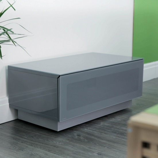 Awesome Top Grey TV Stands Within Castle Lcd Tv Stand Small In Grey With Glass Door  (Image 9 of 50)