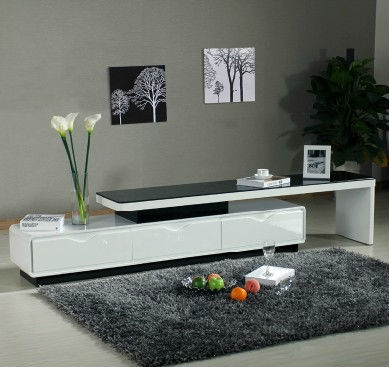Awesome Top High Gloss White TV Stands In Modern White High Gloss Mdf Tv Stand With Tempered Glass Buy Low (Image 6 of 50)