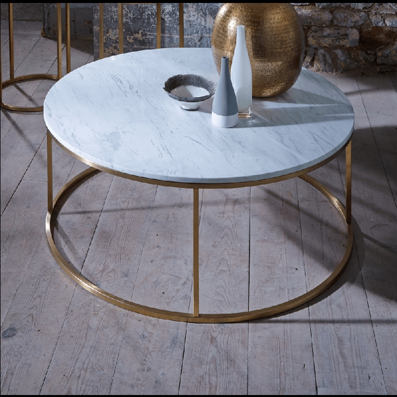 Awesome Top Marble Round Coffee Tables Pertaining To Marble And Brass Coffee Table (Image 7 of 50)