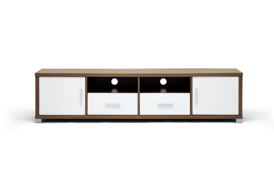 Awesome Top Modern Wooden TV Stands Pertaining To Walnut Veneer Modern Wood Flat Panel Tv Stand Credenza Media (Image 11 of 50)