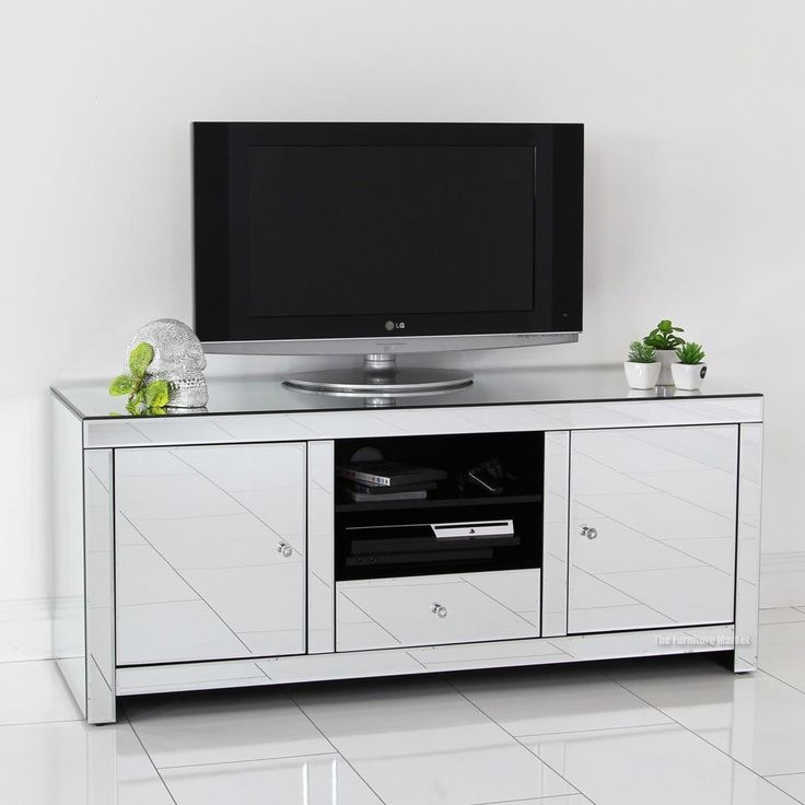 Awesome Top White Glass TV Stands In Dining Room Incredible Mirrored Tv Stand Glass Cabinet (Image 9 of 50)