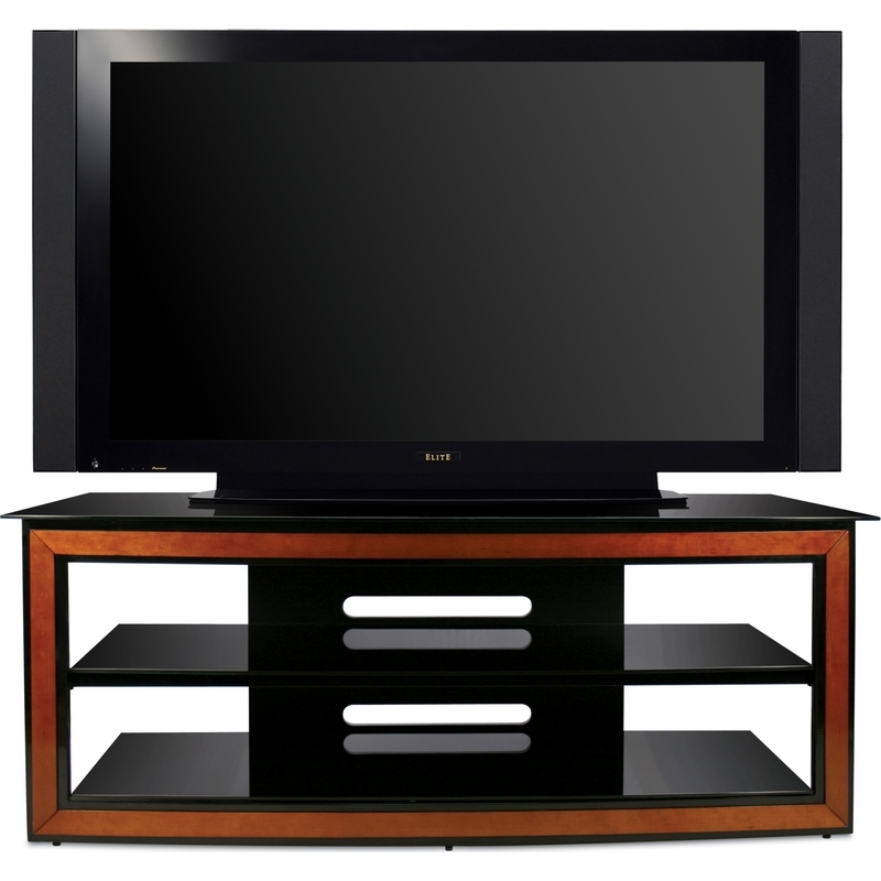 Awesome Trendy Black Glass TV Stands Within Bello Avsc2126 62 Contemporary Flat Panel Glass Tv Stand In Black (Image 12 of 50)
