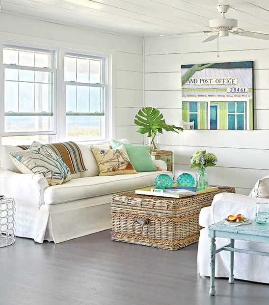 Awesome Trendy Coffee Table With Wicker Basket Storage In Coastal Wicker Baskets Decorative Storage Ideas For A Beach House (Image 5 of 40)