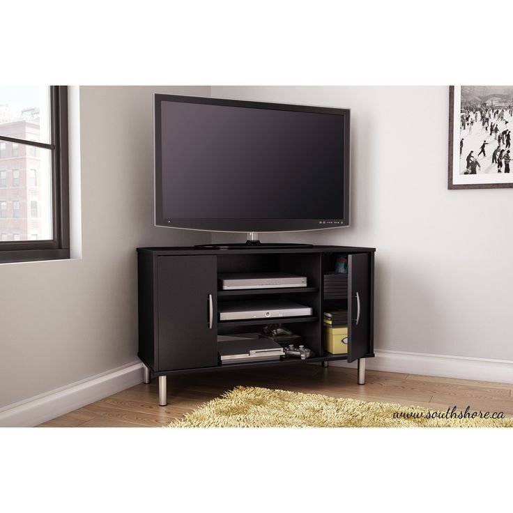 Awesome Trendy Contemporary Black TV Stands Regarding Best 25 Black Corner Tv Stand Ideas On Pinterest Small Corner (View 24 of 50)