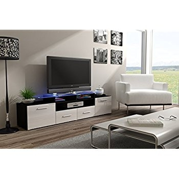 Awesome Trendy High Gloss TV Cabinets Regarding Amazon Enea Grand With Top Glass Shelf Tv Stand High Gloss (View 18 of 50)