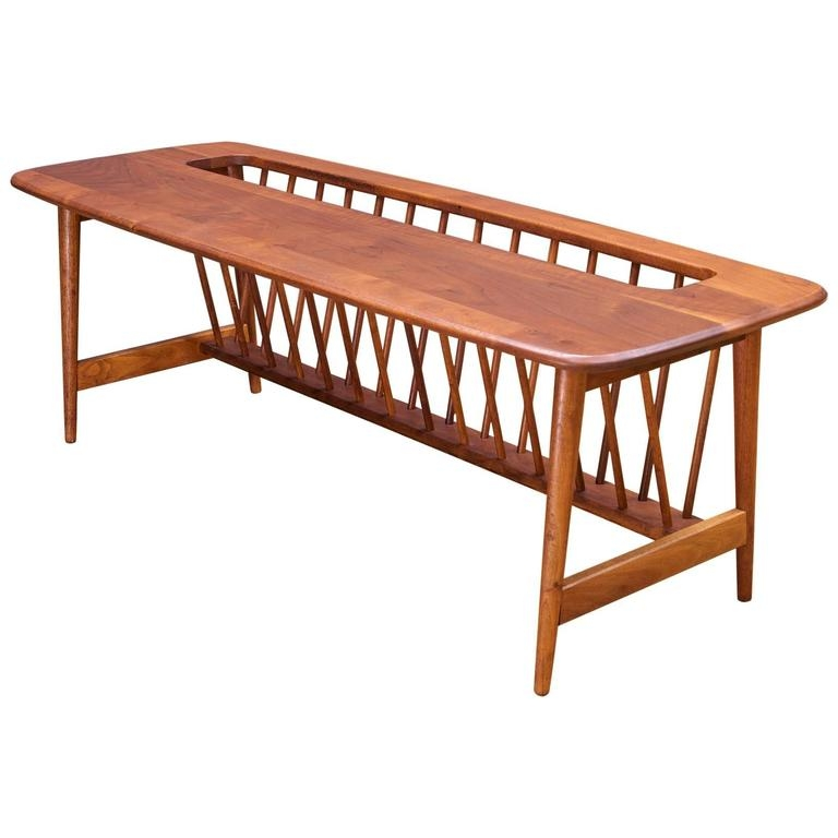 Awesome Trendy Long Coffee Tables Within Monumental Cabin Modern Mid Century Magazine Rack Walnut Long (Image 9 of 50)
