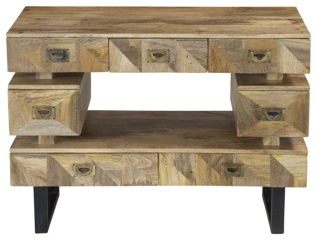 Awesome Trendy Mango TV Stands In Kerala Natural Mango Wood Seven Drawer Media Console (View 7 of 50)