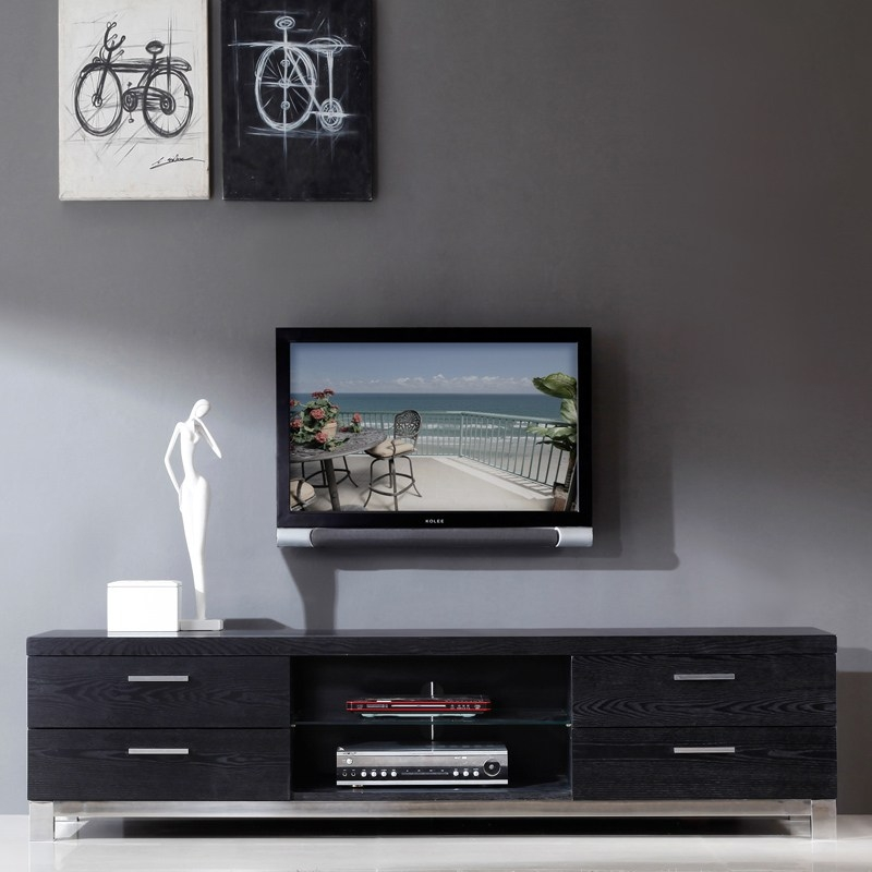 Awesome Trendy Modern Black TV Stands Within Modern Black And White Tv Stands Home Design Ideas (Image 7 of 50)