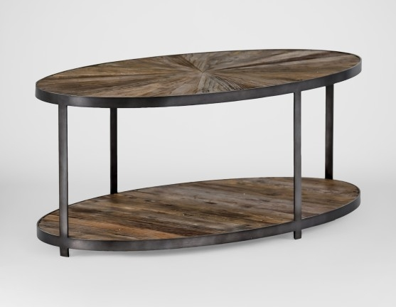 Awesome Trendy Oval Wooden Coffee Tables Within Gab Ronald Reclaimed Wood Sunburst Oval Coffee Table (Image 6 of 50)