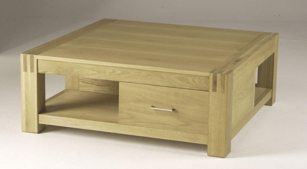 Awesome Trendy Solid Oak Coffee Table With Storage Regarding Square Coffee Table Square Coffee Tables With Gl Top Coffetable (Image 5 of 50)