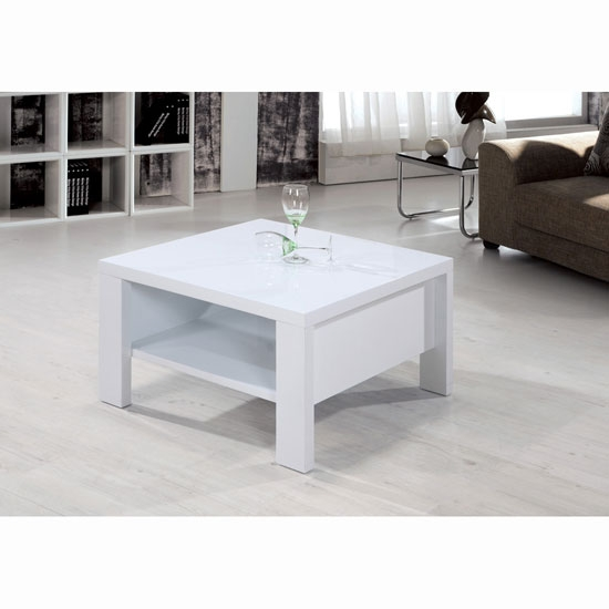 Awesome Trendy Square White Coffee Tables Regarding Peru High Gloss White Square Coffee Table 10350 Furniture (View 25 of 50)