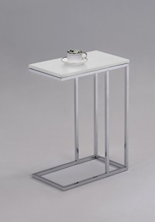 Awesome Trendy White And Chrome Coffee Tables With Amazon White Finish Chrome Snack Side End Table Kitchen Dining (Image 8 of 50)